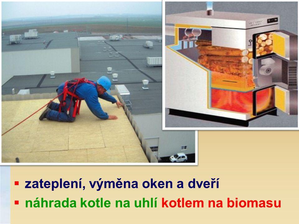  zateplení, výměna oken a dveří  náhrada kotle na uhlí kotlem na biomasu