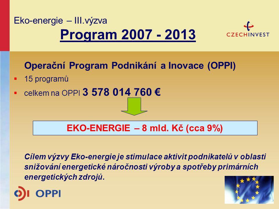 Operační Program Podnikání a Inovace (OPPI)  15 programů  celkem na OPPI 3 578 014 760 € Cílem výzvy Eko-energie je stimulace aktivit podnikatelů v