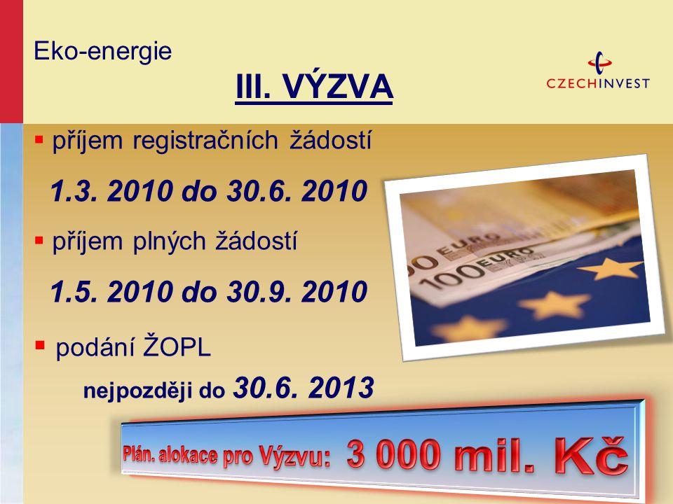 Eko-energie III. VÝZVA  příjem registračních žádostí 1.3. 2010 do 30.6. 2010  příjem plných žádostí 1.5. 2010 do 30.9. 2010  podání ŽOPL nejpozději