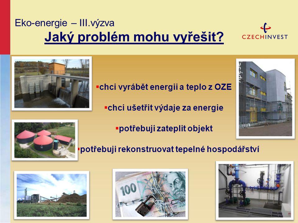 Eko-energie – III.výzva Jaký problém mohu vyřešit?  chci vyrábět energii a teplo z OZE  chci ušetřit výdaje za energie  potřebuji zateplit objekt 