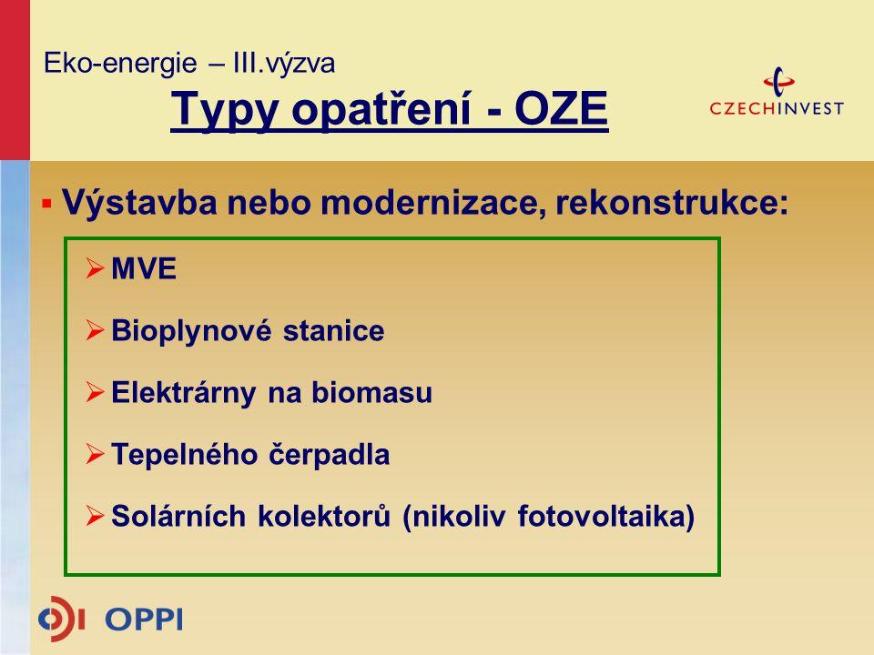 Eko-energie – III.výzva Typy opatření - OZE  Výstavba nebo modernizace, rekonstrukce:  MVE  Bioplynové stanice  Elektrárny na biomasu  Tepelného