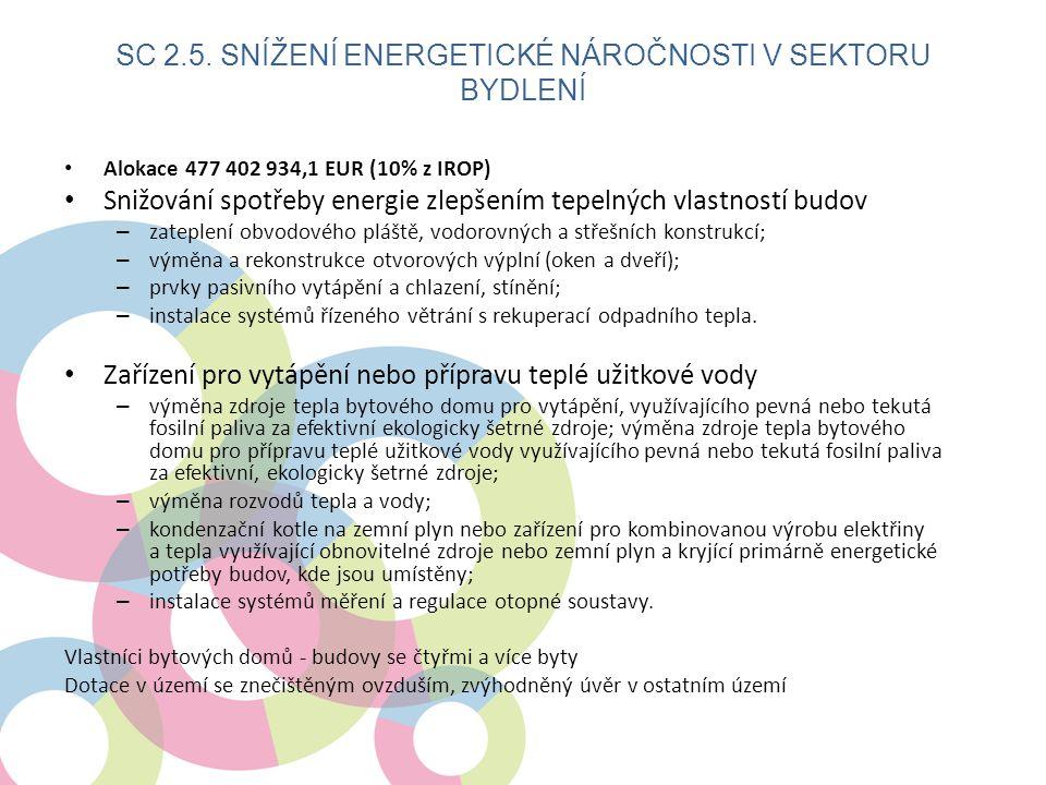 • Alokace 477 402 934,1 EUR (10% z IROP) • Snižování spotřeby energie zlepšením tepelných vlastností budov – zateplení obvodového pláště, vodorovných a střešních konstrukcí; – výměna a rekonstrukce otvorových výplní (oken a dveří); – prvky pasivního vytápění a chlazení, stínění; – instalace systémů řízeného větrání s rekuperací odpadního tepla.