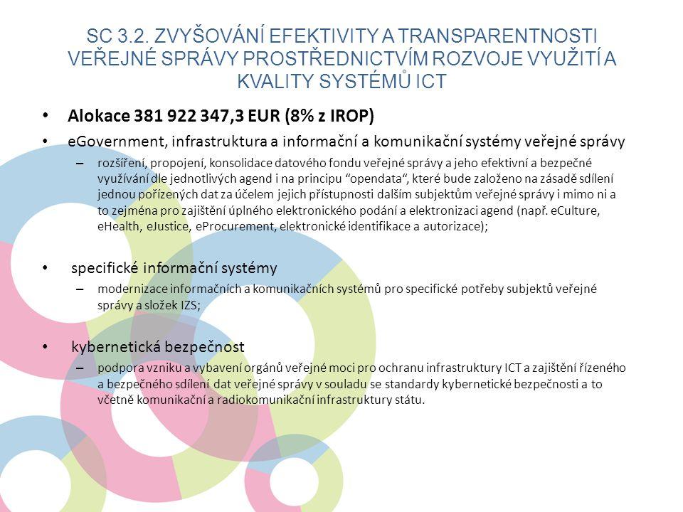 • Alokace 381 922 347,3 EUR (8% z IROP) • eGovernment, infrastruktura a informační a komunikační systémy veřejné správy – rozšíření, propojení, konsolidace datového fondu veřejné správy a jeho efektivní a bezpečné využívání dle jednotlivých agend i na principu opendata , které bude založeno na zásadě sdílení jednou pořízených dat za účelem jejich přístupnosti dalším subjektům veřejné správy i mimo ni a to zejména pro zajištění úplného elektronického podání a elektronizaci agend (např.
