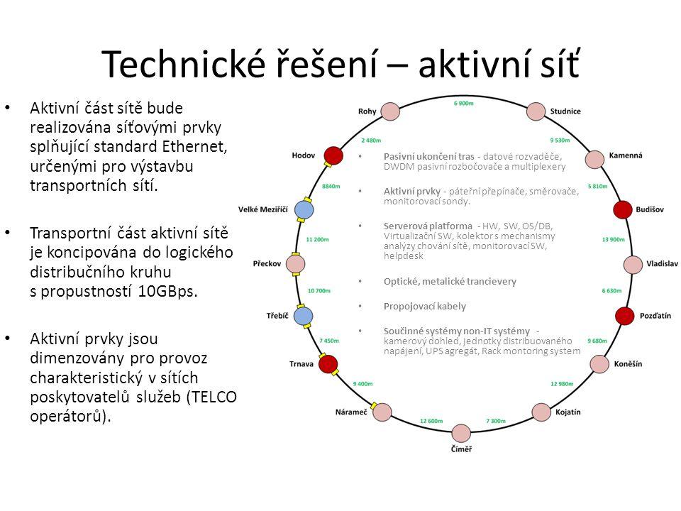 Technické řešení – aktivní síť • Aktivní část sítě bude realizována síťovými prvky splňující standard Ethernet, určenými pro výstavbu transportních sítí.