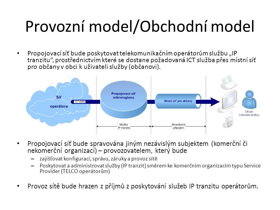 """Provozní model/Obchodní model • Propojovací síť bude poskytovat telekomunikačním operátorům službu """"IP tranzitu , prostřednictvím které se dostane požadovaná ICT služba přes místní síť pro občany v obci k uživateli služby (občanovi)."""