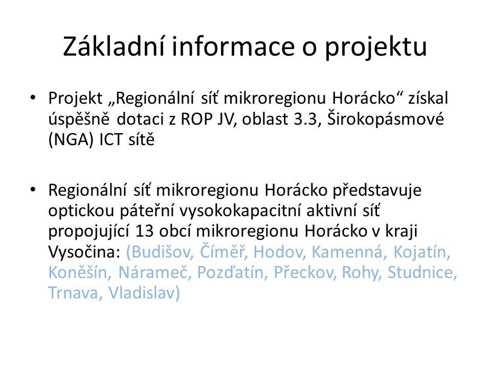 Cíl a smysl projektu Mikroregion Horácko musí vybudovat propojovací síť umožňující takové parametry: • garantované oddělené přenosové pásmo s garantovanou kapacitou • maximální dostupnost sítě 99,5 % • maximální bezpečnost dat v rámci provozu sítě • prostor minimálně pro 12 operátorů • redundance sítě • 7 letou záruku aby měli jednotliví potenciální telekomunikační operátoři a další komerční poskytovatelé ICT služeb zájem o služby IP tranzitu (vysokokapacitních datových okruhů) a začali poskytovat ICT služby v obcích občanům mikroregionu.