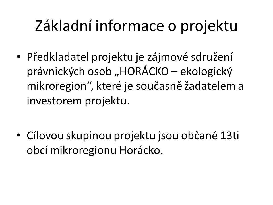 """Základní informace o projektu • Předkladatel projektu je zájmové sdružení právnických osob """"HORÁCKO – ekologický mikroregion , které je současně žadatelem a investorem projektu."""