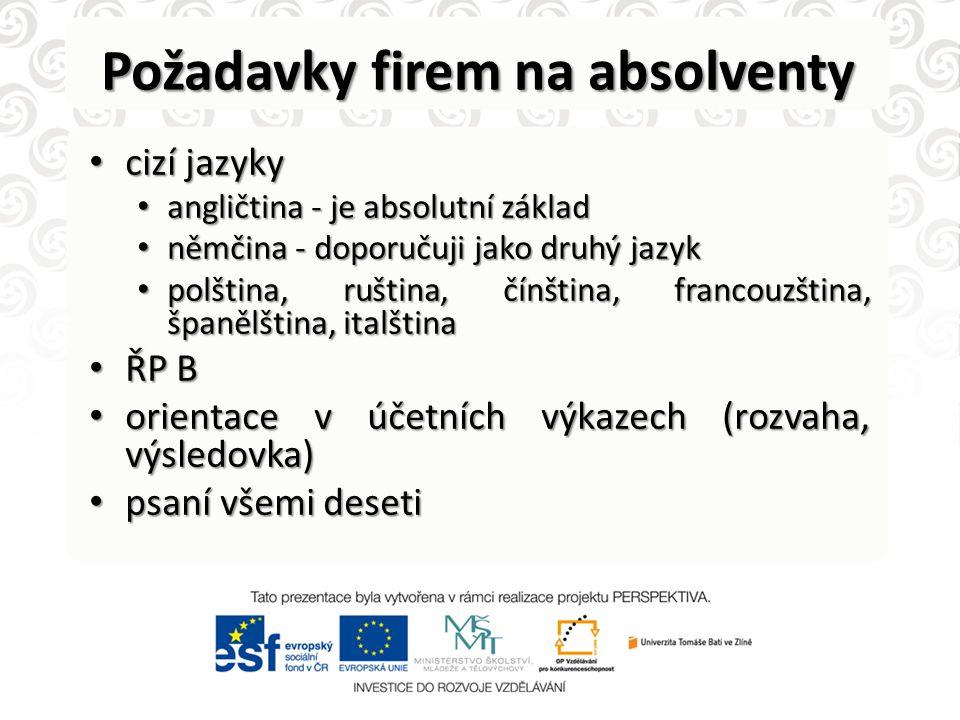 Požadavky firem na absolventy • cizí jazyky • angličtina - je absolutní základ • němčina - doporučuji jako druhý jazyk • polština, ruština, čínština,
