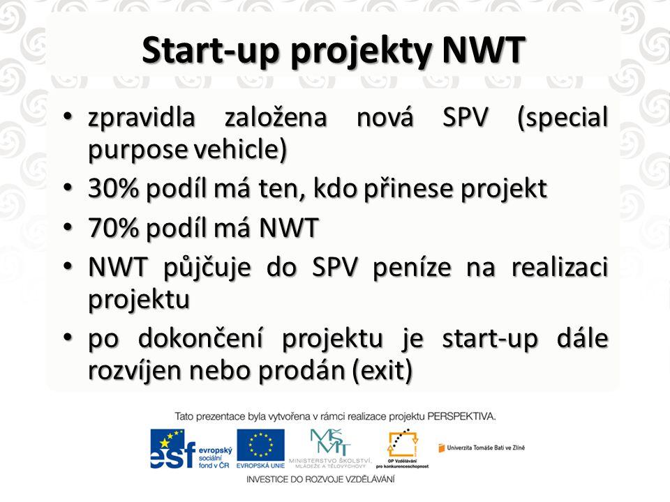 Start-up projekty NWT • zpravidla založena nová SPV (special purpose vehicle) • 30% podíl má ten, kdo přinese projekt • 70% podíl má NWT • NWT půjčuje