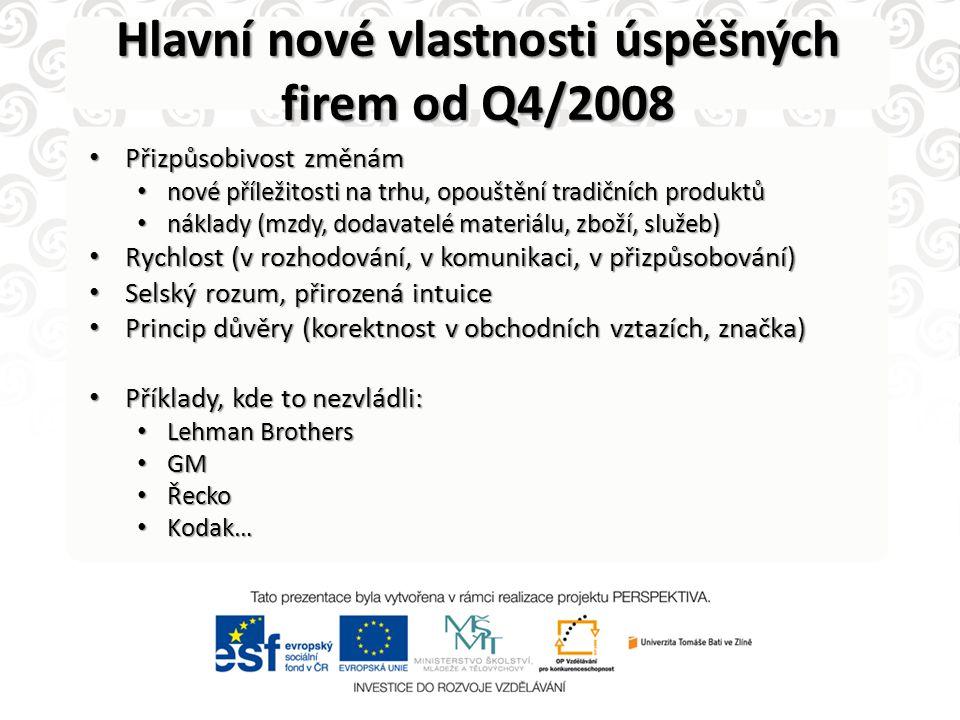 Hlavní nové vlastnosti úspěšných firem od Q4/2008 • Přizpůsobivost změnám • nové příležitosti na trhu, opouštění tradičních produktů • náklady (mzdy,