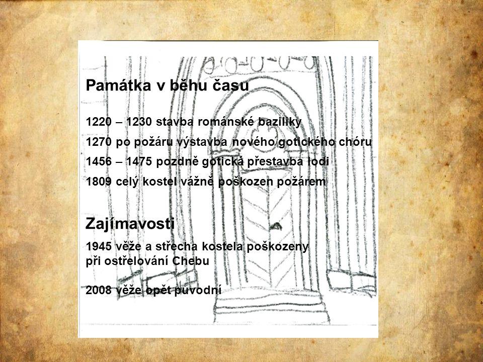 Památka v běhu času 1220 – 1230 stavba románské baziliky 1270 po požáru výstavba nového gotického chóru 1456 – 1475 pozdně gotická přestavba lodi 1809