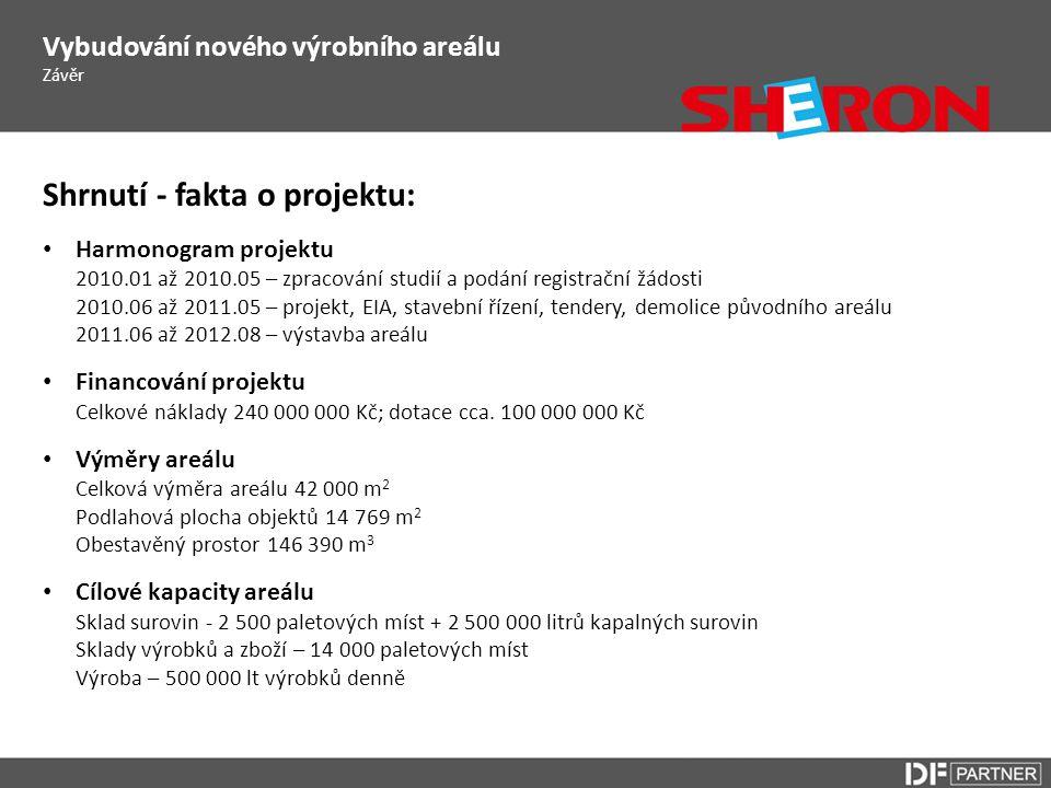 Shrnutí - fakta o projektu: • Harmonogram projektu 2010.01 až 2010.05 – zpracování studií a podání registrační žádosti 2010.06 až 2011.05 – projekt, E