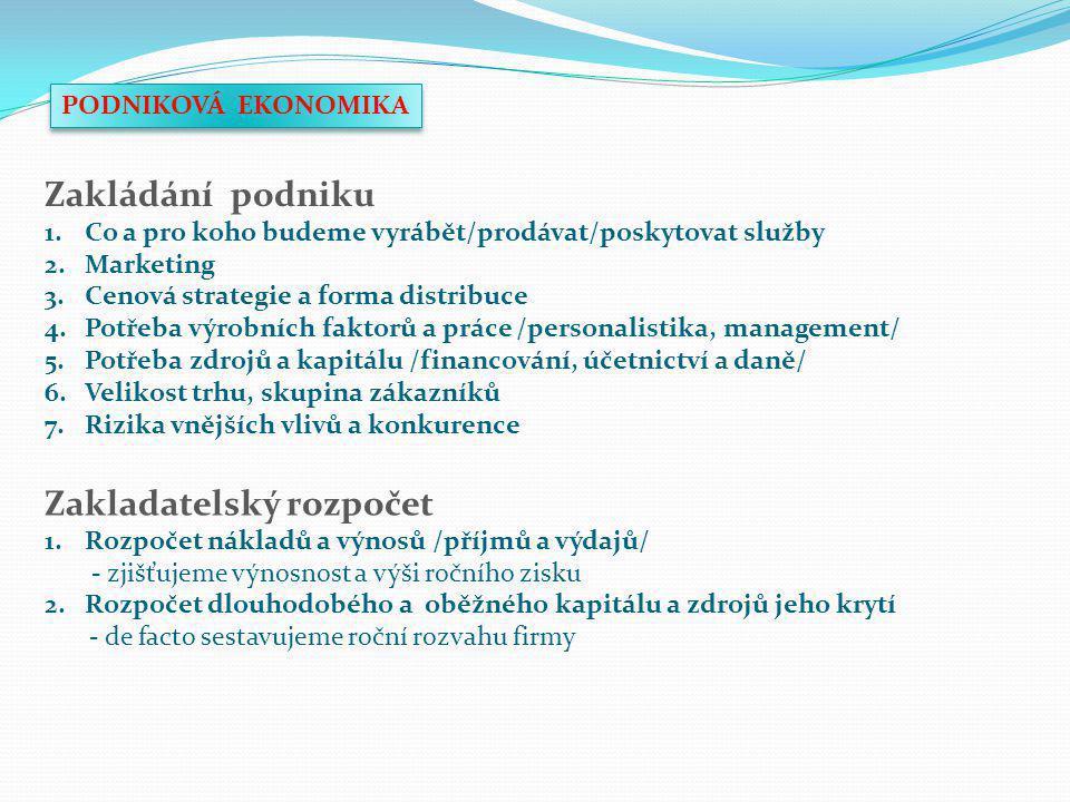 MAJETKOVÁ A KAPITÁLOVÁ VÝSTAVBA FIRMY/PODNIKU MANAGEMENT DLOHODOBÝ MAJETEK A TECHNICKÝ ROZVOJ ZÁSOBOVÁNÍ A LOGISTIKA VÝROBA PRODEJ A MARKETING EKONOMICKÝ SYSTÉM A ÚČETNICTVÍ PERSONALISTIKA ŘÍZENÍ FIRMY/PODNIKU - schéma fungování podnikových subsystémů - podnikové subsystémy nazýváme také podnikovými funkcemi