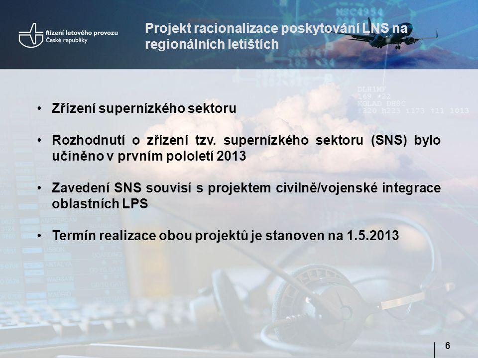 Projekt racionalizace poskytování LNS na regionálních letištích 6 •Zřízení supernízkého sektoru •Rozhodnutí o zřízení tzv. supernízkého sektoru (SNS)