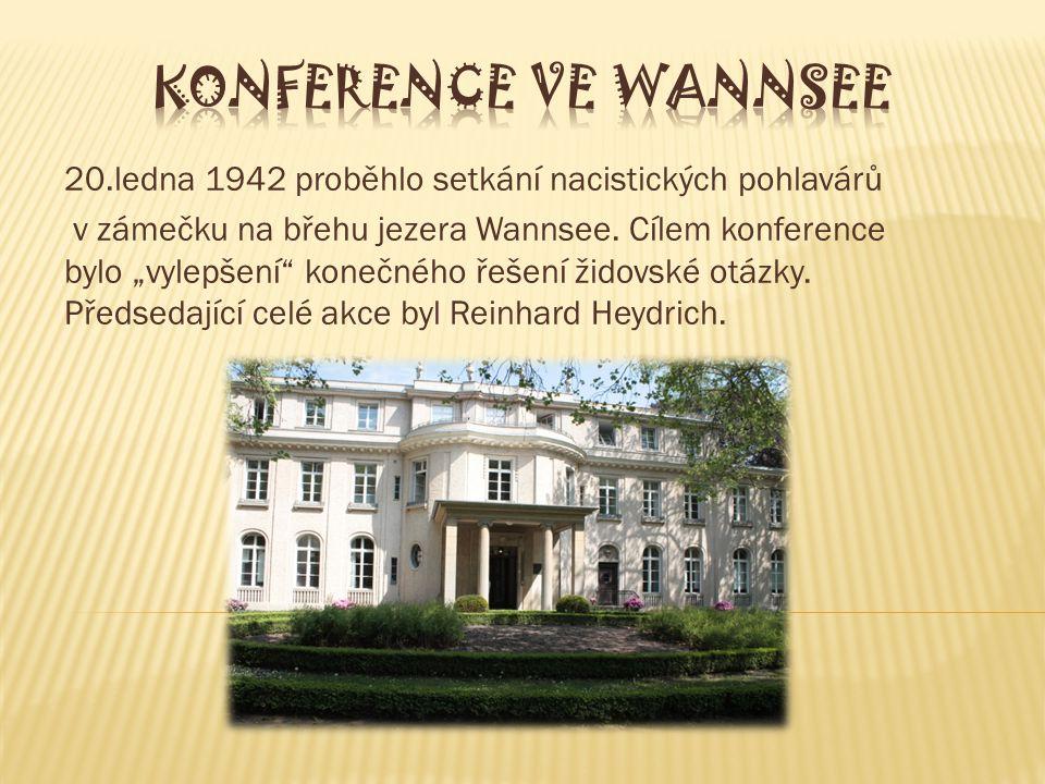 20.ledna 1942 proběhlo setkání nacistických pohlavárů v zámečku na břehu jezera Wannsee.