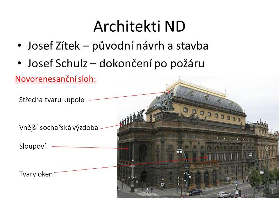 Architekti ND • Josef Zítek – původní návrh a stavba • Josef Schulz – dokončení po požáru Novorenesanční sloh: Střecha tvaru kupole Vnější sochařská v