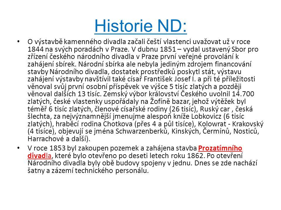 Historie ND: • O výstavbě kamenného divadla začali čeští vlastenci uvažovat už v roce 1844 na svých poradách v Praze. V dubnu 1851 – vydal ustavený Sb