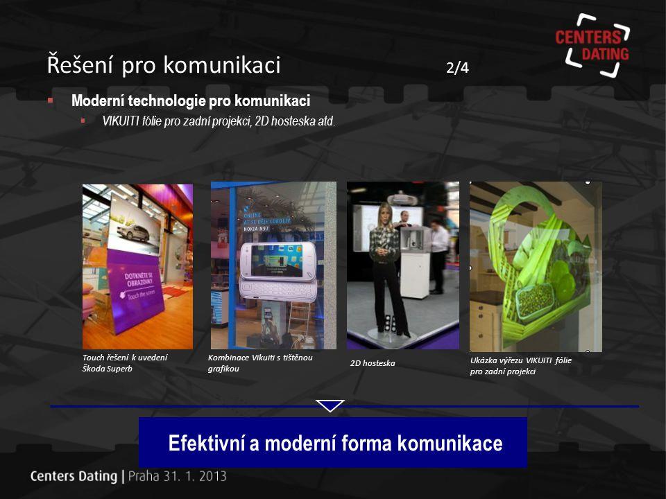 Řešení pro komunikaci 3/4 Efektivní a moderní forma komunikace Interaktivní systémy Klasické projektory Miniprojektory Mobilní projektory  Moderní prezentační nástroje  Projektory a interaktivní projekční systémy