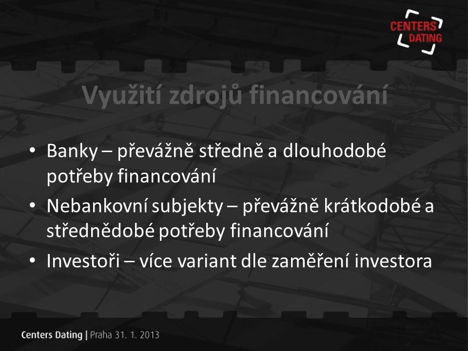 Předpoklady úspěšného financování • lokalita, velikost projektu, celkové řešení, konkurence • právní připravenost, transparentnost • vlastní zdroje, hodnota projektu • zajištění • cash flow nebo exit