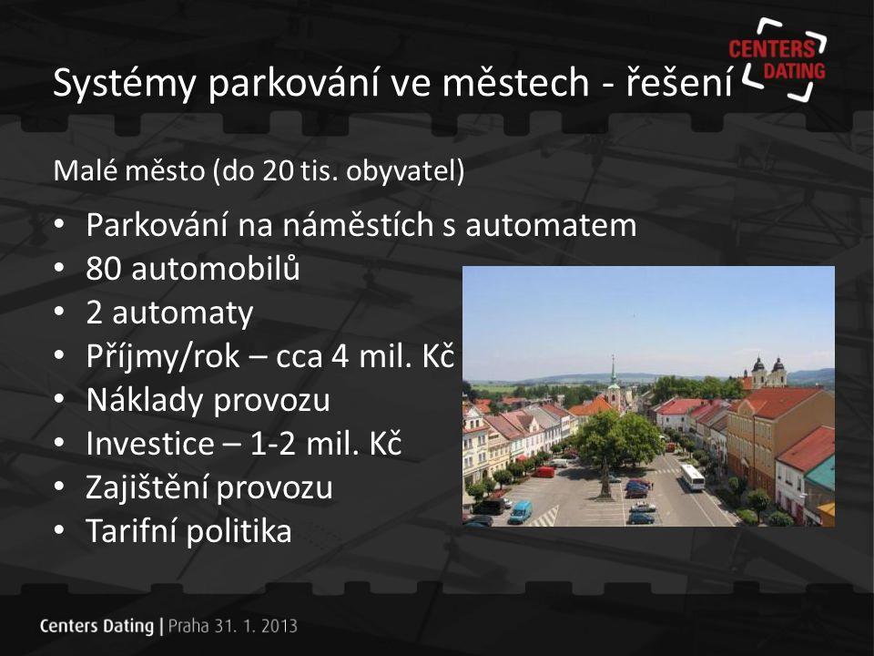 Systémy parkování ve městech - řešení Středně velké město (30 - 50 tis.