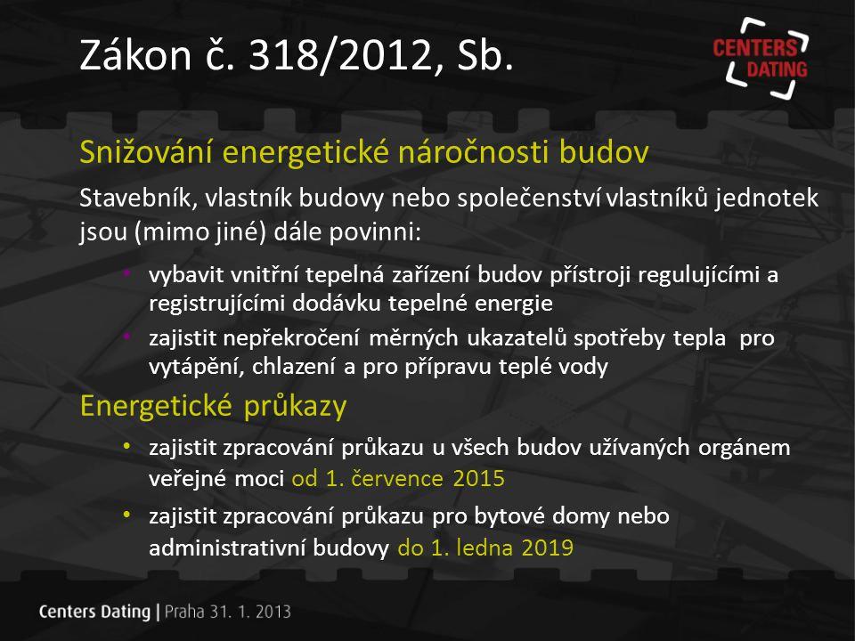 • plnění požadavků zákona č.318/2012, Sb.
