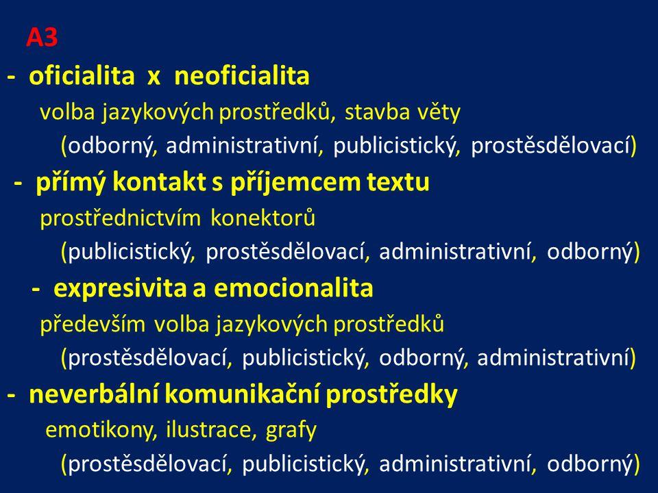 A3 - oficialita x neoficialita volba jazykových prostředků, stavba věty (odborný, administrativní, publicistický, prostěsdělovací) - přímý kontakt s příjemcem textu prostřednictvím konektorů (publicistický, prostěsdělovací, administrativní, odborný) - expresivita a emocionalita především volba jazykových prostředků (prostěsdělovací, publicistický, odborný, administrativní) - neverbální komunikační prostředky emotikony, ilustrace, grafy (prostěsdělovací, publicistický, administrativní, odborný)
