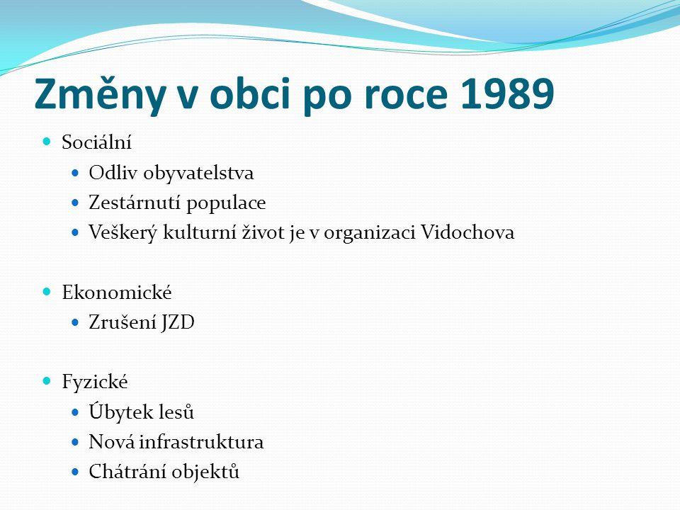 Změny v obci po roce 1989  Sociální  Odliv obyvatelstva  Zestárnutí populace  Veškerý kulturní život je v organizaci Vidochova  Ekonomické  Zruš