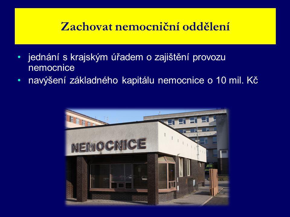 • •jednání s krajským úřadem o zajištění provozu nemocnice • •navýšení základného kapitálu nemocnice o 10 mil.