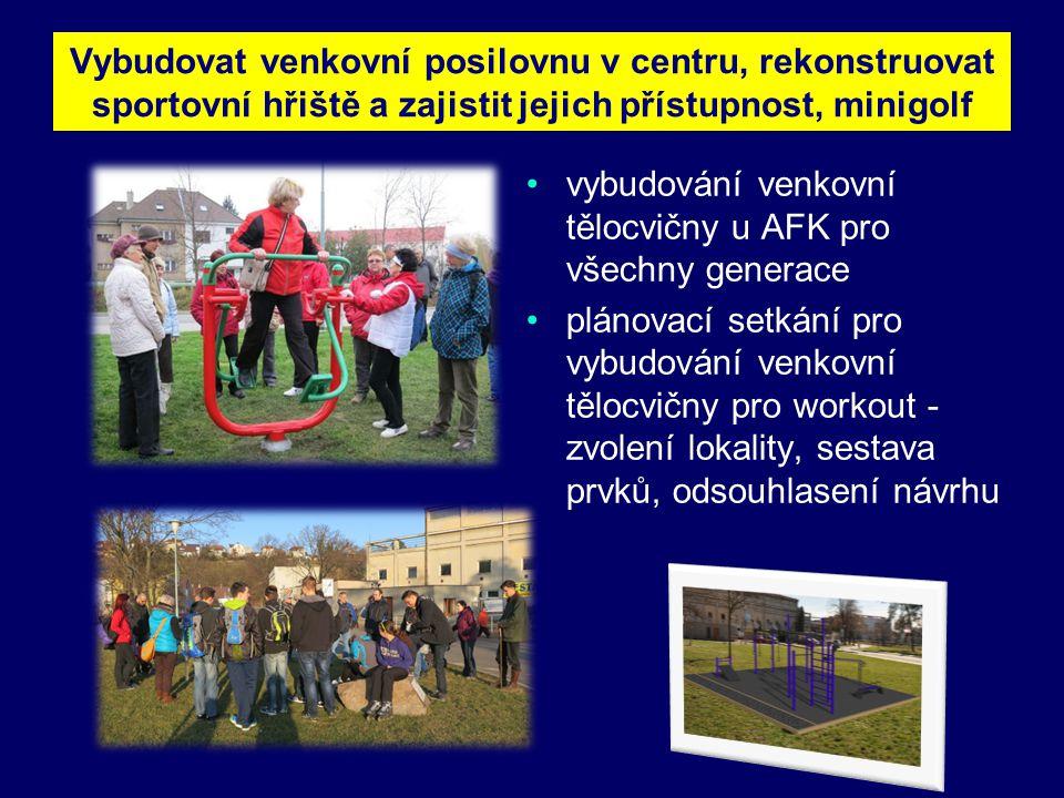 Vybudovat venkovní posilovnu v centru, rekonstruovat sportovní hřiště a zajistit jejich přístupnost, minigolf •vybudování venkovní tělocvičny u AFK pro všechny generace •plánovací setkání pro vybudování venkovní tělocvičny pro workout - zvolení lokality, sestava prvků, odsouhlasení návrhu