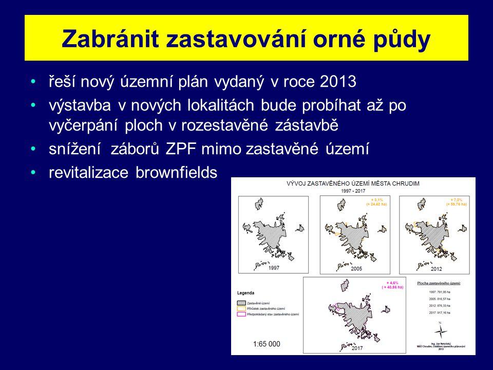 Zabránit zastavování orné půdy •řeší nový územní plán vydaný v roce 2013 •výstavba v nových lokalitách bude probíhat až po vyčerpání ploch v rozestavěné zástavbě •snížení záborů ZPF mimo zastavěné území •revitalizace brownfields