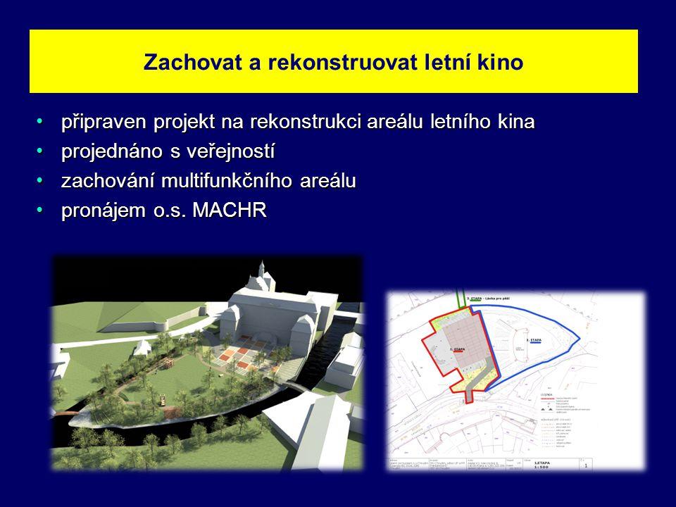 •připraven projekt na rekonstrukci areálu letního kina •projednáno s veřejností •zachování multifunkčního areálu •pronájem o.s.