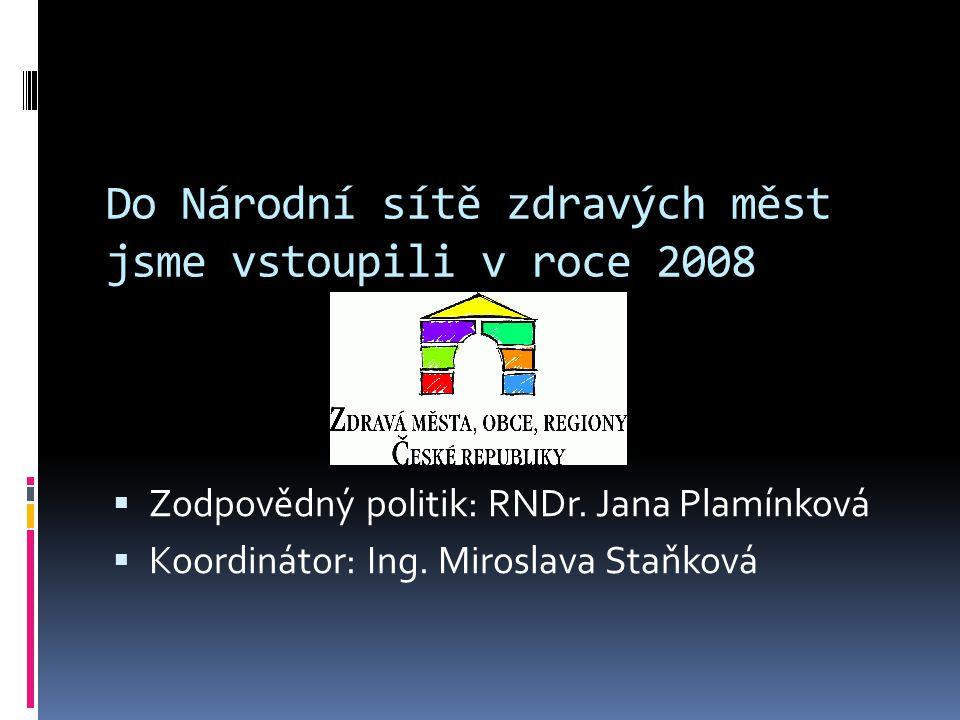 Do Národní sítě zdravých měst jsme vstoupili v roce 2008  Zodpovědný politik: RNDr. Jana Plamínková  Koordinátor: Ing. Miroslava Staňková