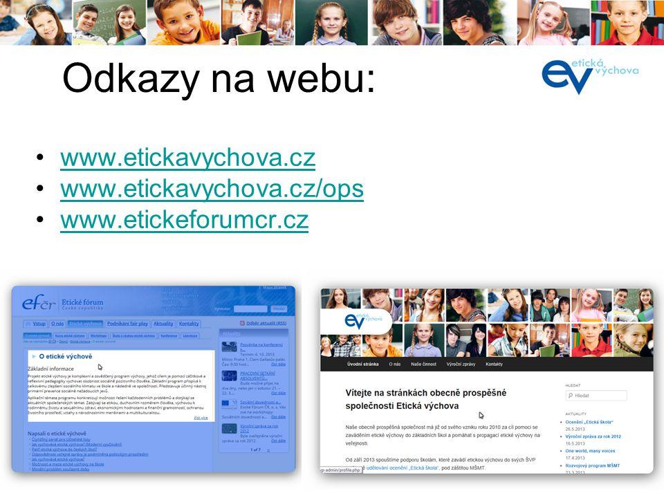 í •www.etickavychova.czwww.etickavychova.cz •www.etickavychova.cz/opswww.etickavychova.cz/ops •www.etickeforumcr.czwww.etickeforumcr.cz Odkazy na webu: