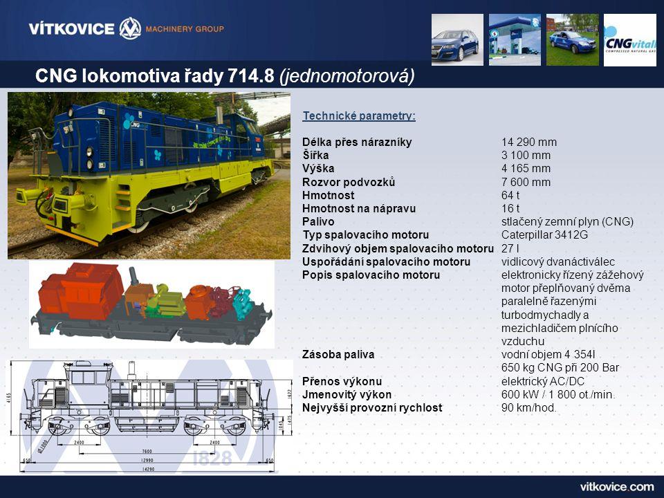 CNG lokomotiva řady 714.8 (jednomotorová) Technické parametry: Délka přes nárazníky 14 290 mm Šířka 3 100 mm Výška 4 165 mm Rozvor podvozků 7 600 mm H