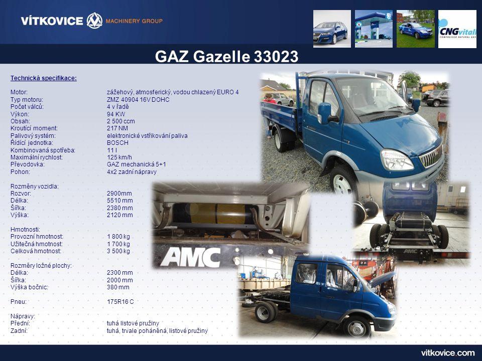 Technická specifikace: Motor:zážehový, atmosferický, vodou chlazený EURO 4 Typ motoru:ZMZ 40904 16V DOHC Počet válců:4 v řadě Výkon:94 KW Obsah:2 500 ccm Kroutící moment:217 NM Palivový systém:elektronické vstřikování paliva Řídící jednotka:BOSCH Kombinovaná spotřeba:11 l Maximální rychlost:125 km/h Převodovka:GAZ mechanická 5+1 Pohon:4x2 zadní nápravy Rozměny vozidla: Rozvor:2900mm Délka:5510 mm Šířka:2380 mm Výška:2120 mm Hmotnosti: Provozní hmotnost:1 800 kg Užitečná hmotnost:1 700 kg Celková hmotnost:3 500 kg Rozměry ložné plochy: Délka:2300 mm Šířka:2000 mm Výška bočnic:380 mm Pneu:175R16 C Nápravy: Přední:tuhá listové pružiny Zadní:tuhá, trvale poháněná, listové pružiny GAZ Gazelle 33023