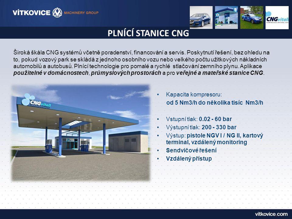 CNG vnitropodniková plnicí stanice Technické parametry: •Výkon kompresoru:100 – 200 Nm3 • Zásobníky lahví:24x80 litrů= 1920 litrů
