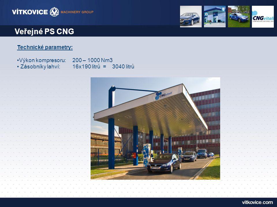 Veřejné PS CNG Technické parametry: •Výkon kompresoru:200 – 1000 Nm3 • Zásobníky lahví:16x190 litrů = 3040 litrů