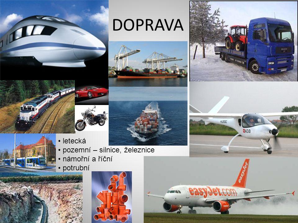 DOPRAVA • letecká • pozemní – silnice, železnice • námořní a říční • potrubní