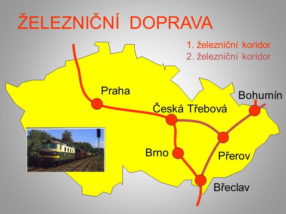 ŽELEZNIČNÍ DOPRAVA 1. železniční koridor 2. železniční koridor Praha Česká Třebová Brno Břeclav Přerov Bohumín