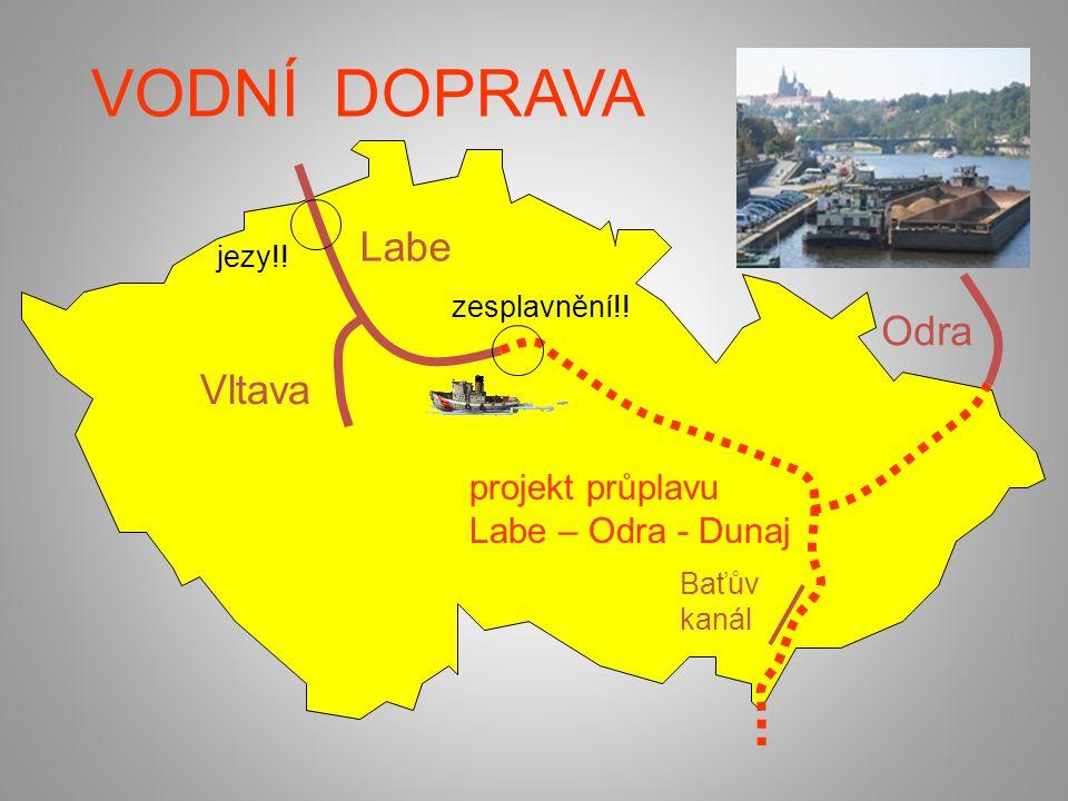 VODNÍ DOPRAVA Labe Vltava Baťův kanál projekt průplavu Labe – Odra - Dunaj jezy!! zesplavnění!! Odra