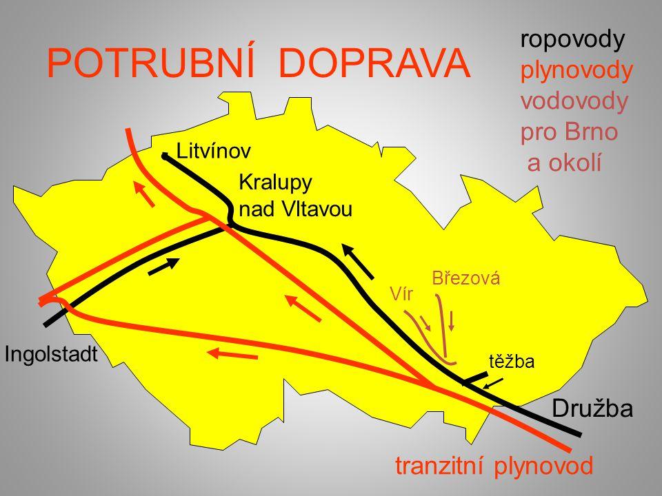 POTRUBNÍ DOPRAVA ropovody plynovody vodovody pro Brno a okolí Březová Vír Kralupy nad Vltavou Ingolstadt tranzitní plynovod Družba Litvínov těžba