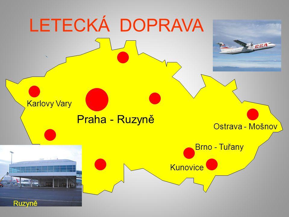 LETECKÁ DOPRAVA Praha - Ruzyně Ostrava - Mošnov Brno - Tuřany Karlovy Vary Kunovice Ruzyně