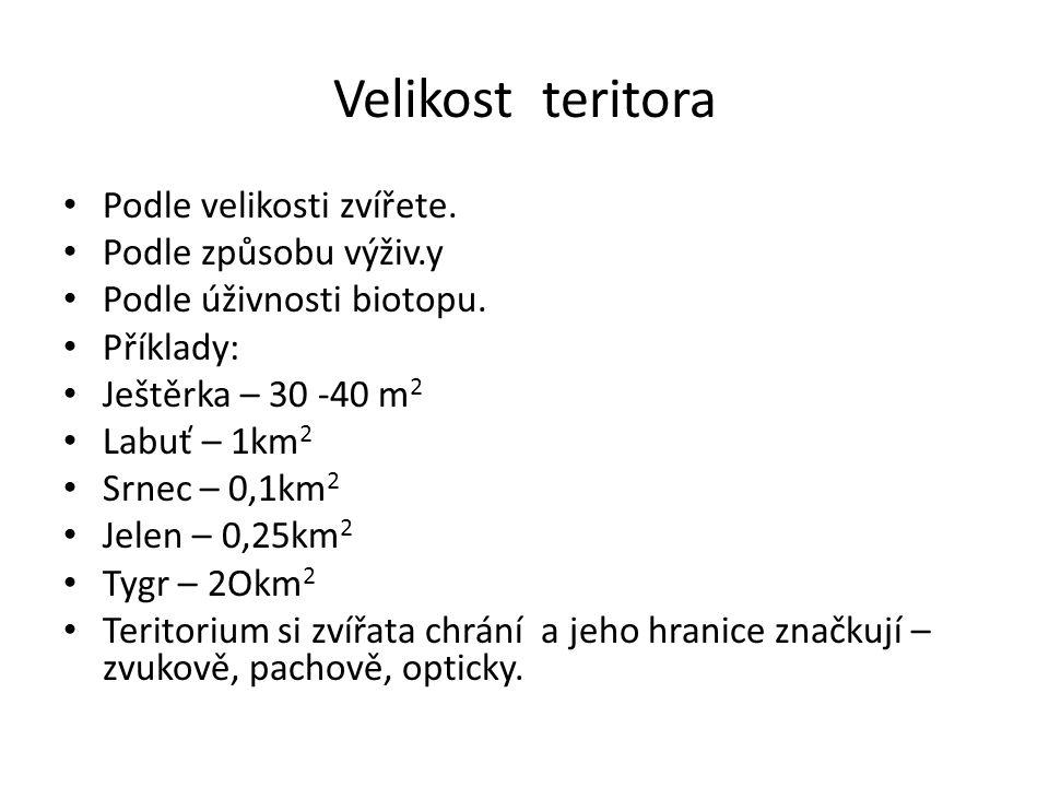 Velikost teritora • Podle velikosti zvířete. • Podle způsobu výživ.y • Podle úživnosti biotopu. • Příklady: • Ještěrka – 30 -40 m 2 • Labuť – 1km 2 •