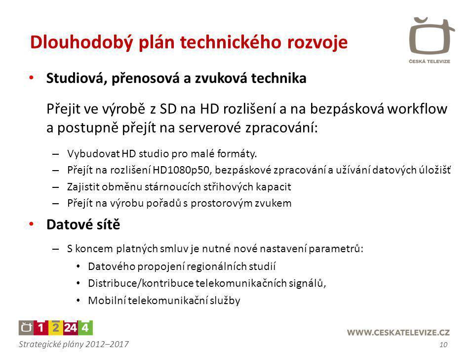 Strategické plány 2012–2017 • Studiová, přenosová a zvuková technika Přejit ve výrobě z SD na HD rozlišení a na bezpásková workflow a postupně přejít