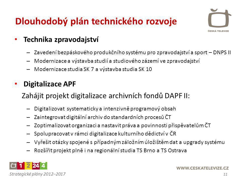 Strategické plány 2012–2017 • Technika zpravodajství – Zavedení bezpáskového produkčního systému pro zpravodajství a sport – DNPS II – Modernizace a v