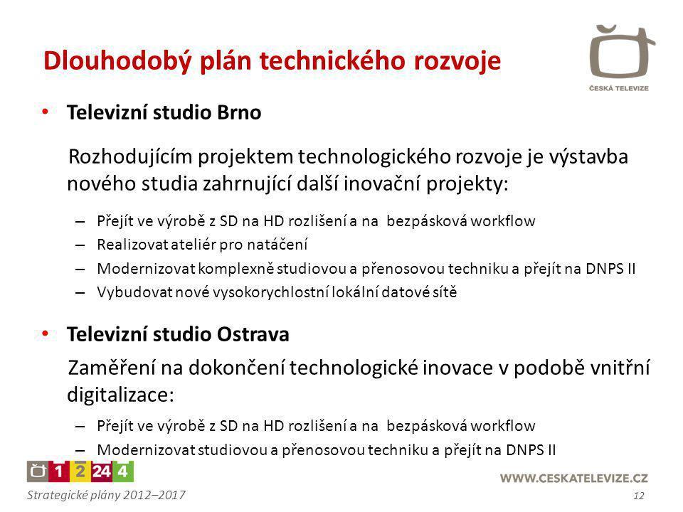 Strategické plány 2012–2017 • Televizní studio Brno Rozhodujícím projektem technologického rozvoje je výstavba nového studia zahrnující další inovační