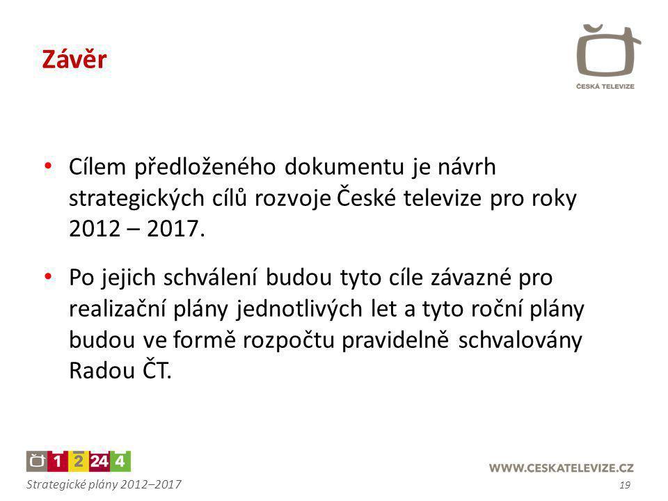 Strategické plány 2012–2017 Závěr • Cílem předloženého dokumentu je návrh strategických cílů rozvoje České televize pro roky 2012 – 2017. • Po jejich