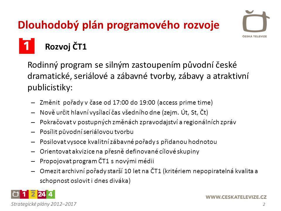Strategické plány 2012–2017 Dlouhodobý plán programového rozvoje Rozvoj ČT1 Rodinný program se silným zastoupením původní české dramatické, seriálové