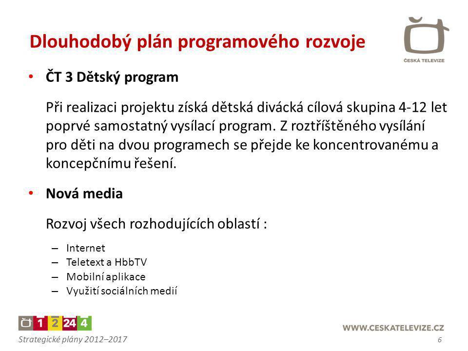 Strategické plány 2012–2017 • ČT 3 Dětský program Při realizaci projektu získá dětská divácká cílová skupina 4-12 let poprvé samostatný vysílací progr