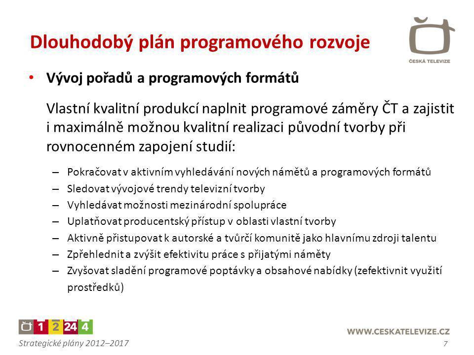 Strategické plány 2012–2017 • Vývoj pořadů a programových formátů Vlastní kvalitní produkcí naplnit programové záměry ČT a zajistit i maximálně možnou